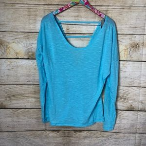Blue Zella Ladder back long sleeve top size L (C03